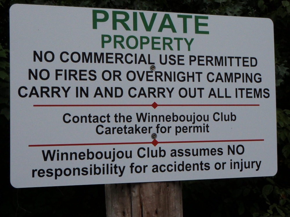 Winneboujou Club Sign at Big Lake