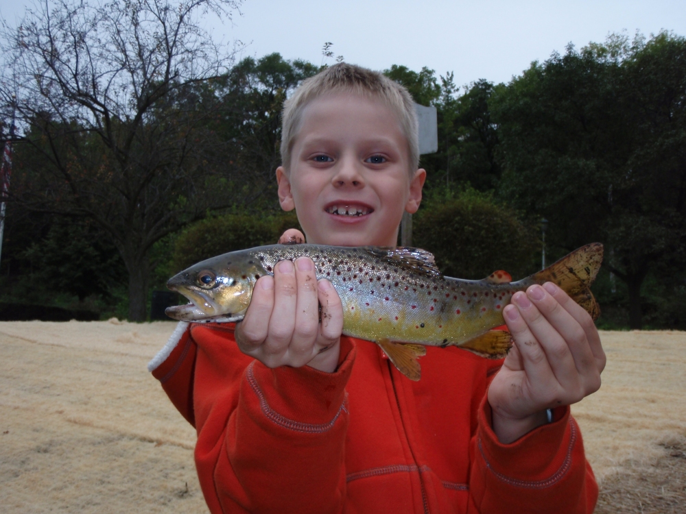 Bode with a twelve-inch Lodi Spring Creek Brown