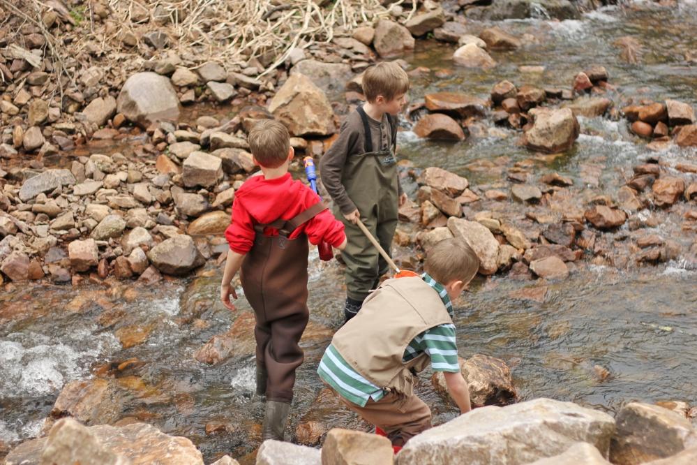Heron, Bode, and Joe exploring a Baraboo creek