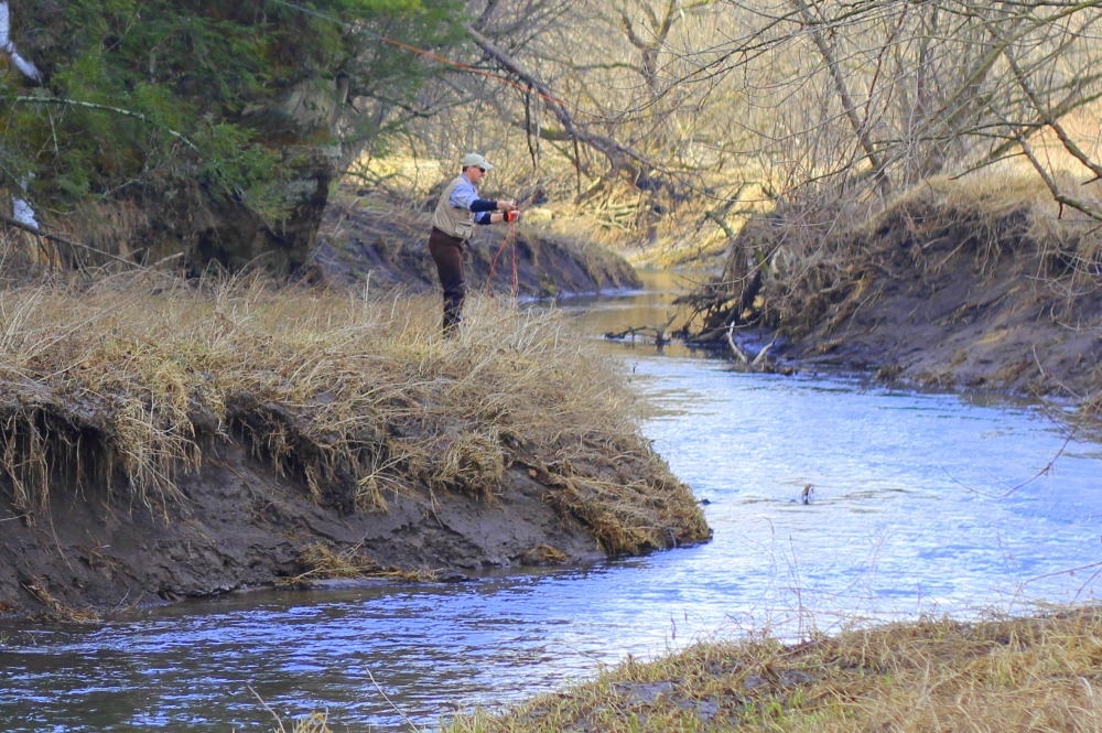 Stephen Rose working a bend pool on a Kickapoo River Tributary