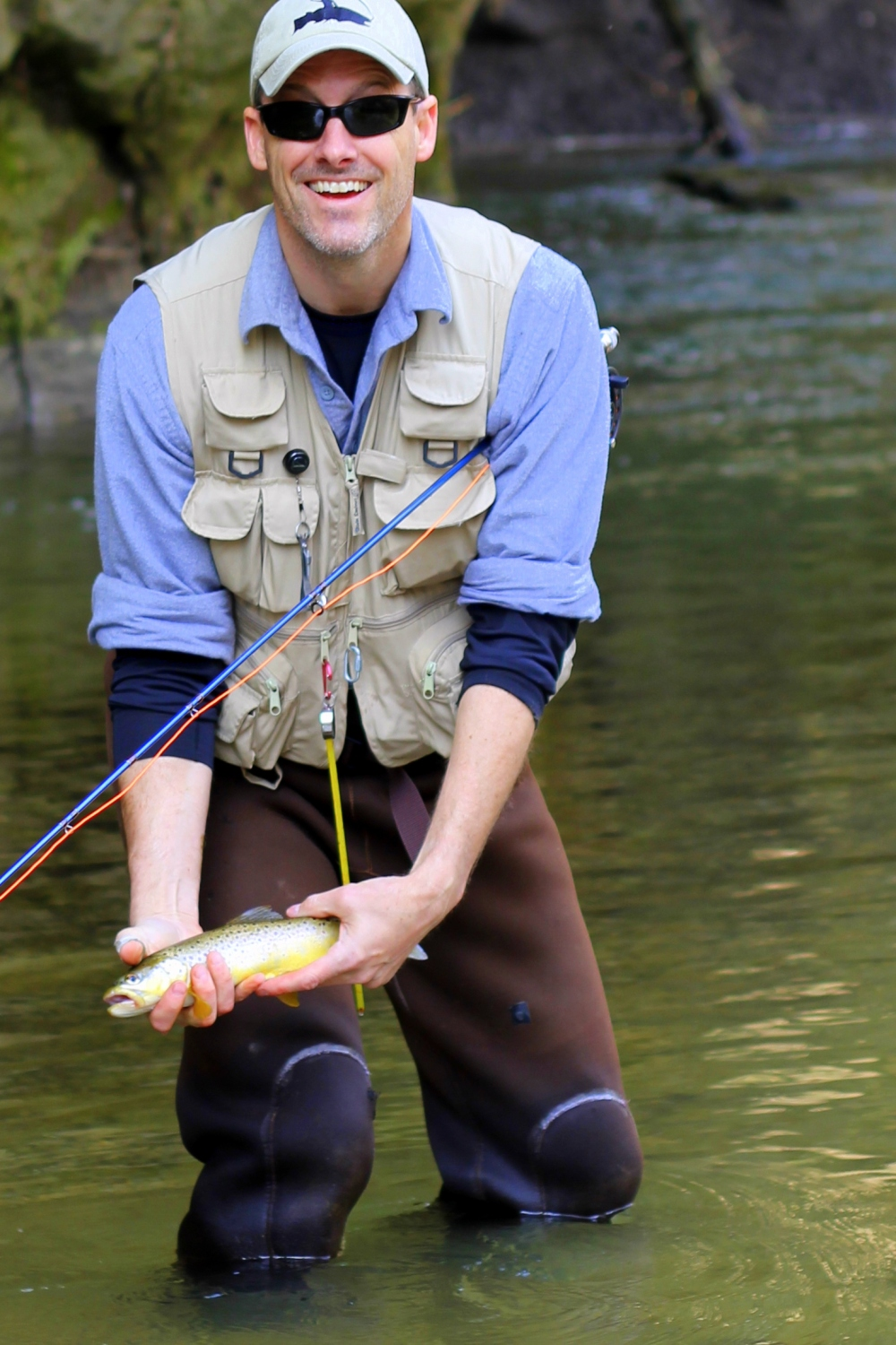 Stephen Rose with at Driftless Wisconson Brown Trout