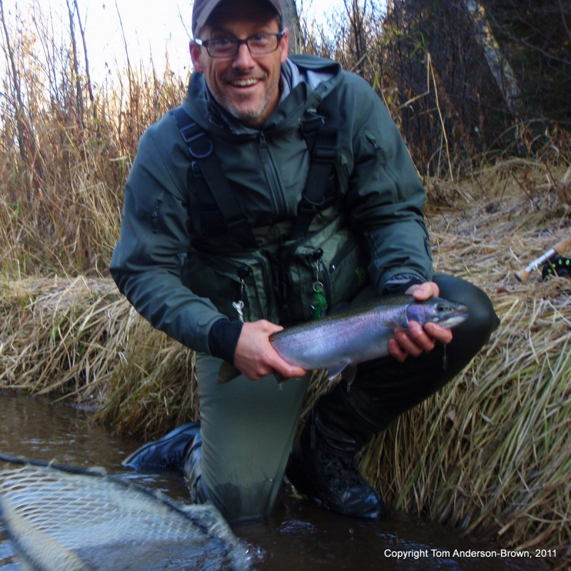 Stephen Rose lands a nice Brule Steelhead buck