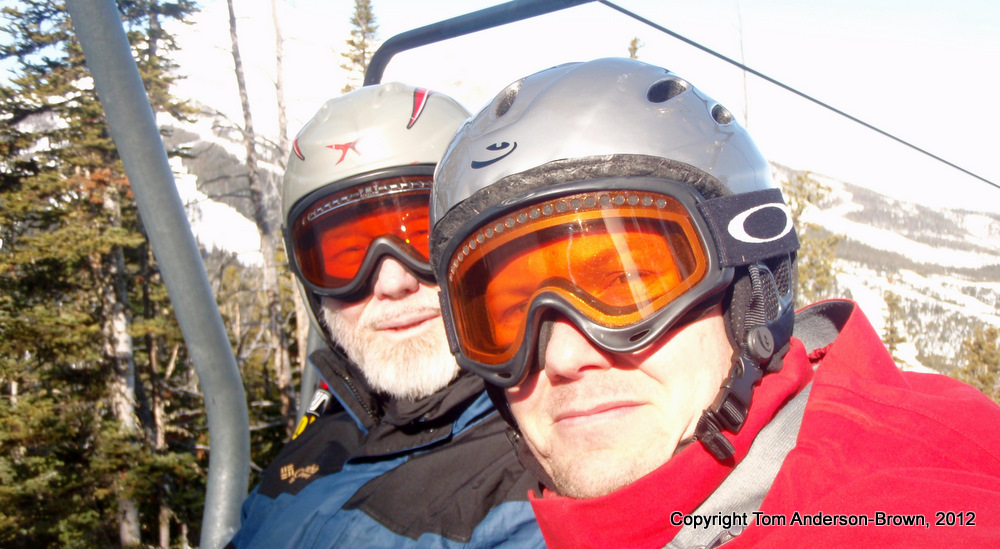 "Dad and me on the ""Ram Charger"" Lift at Big Sky, Montana"