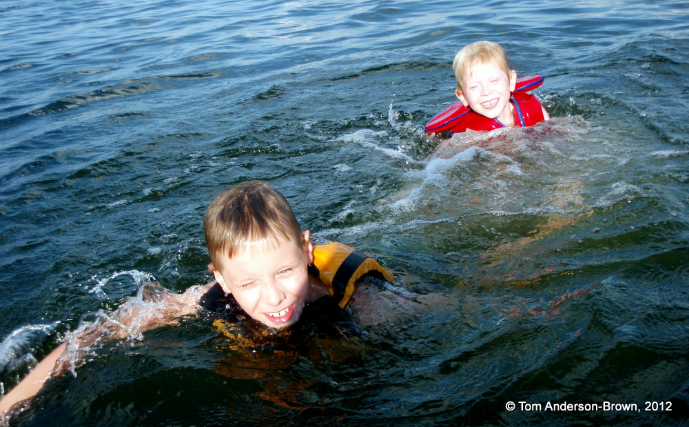 Bode and Sawyer enjoying the water on Wingra