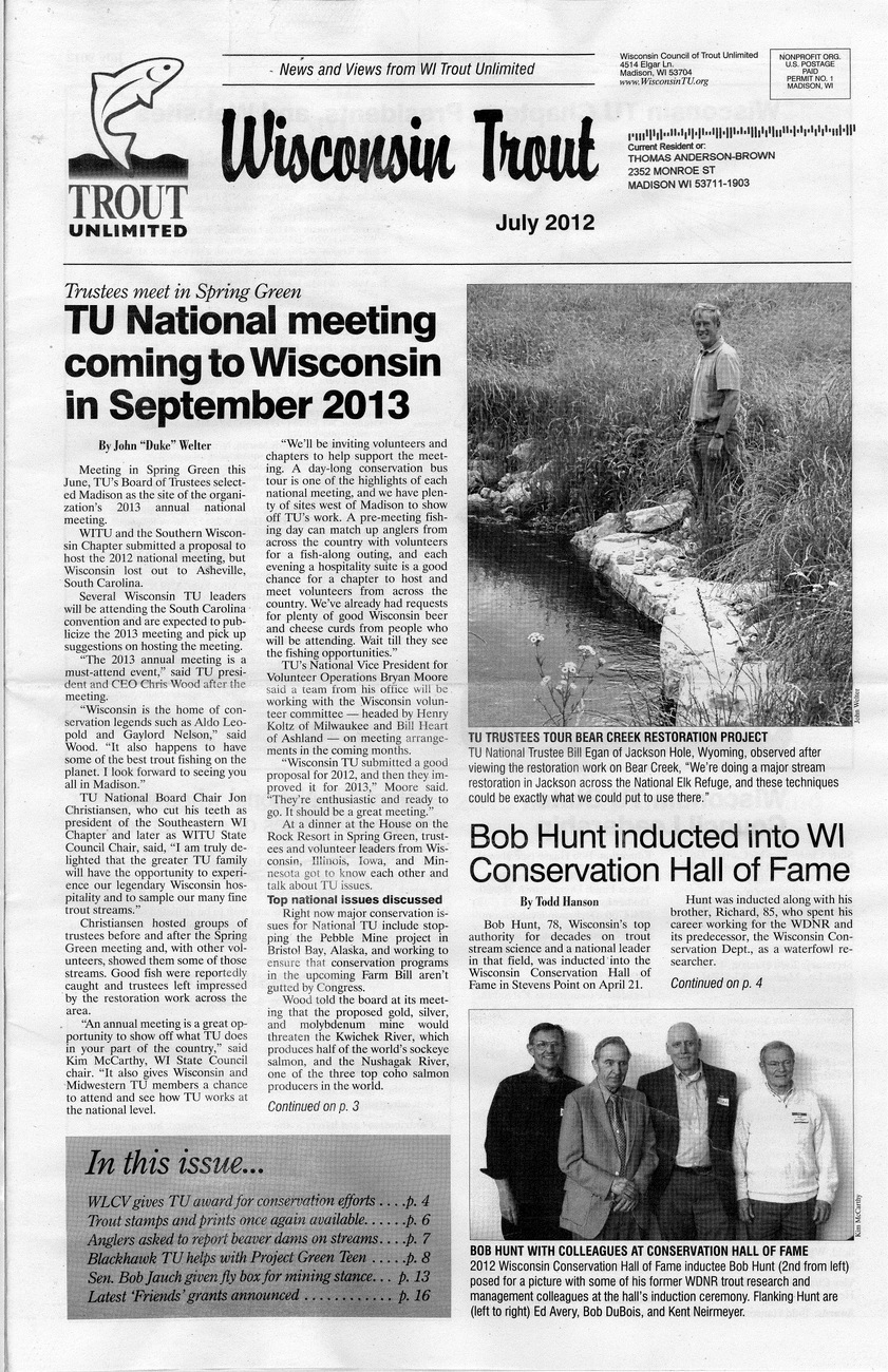 Wi Trout Unlimited July 2012 Page 1