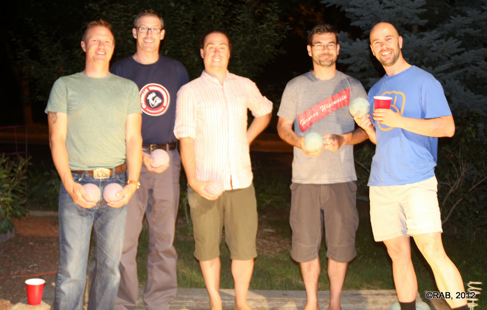 Tom, Stephen R, Stephen B, Chris, and Brian on the Bocce Court