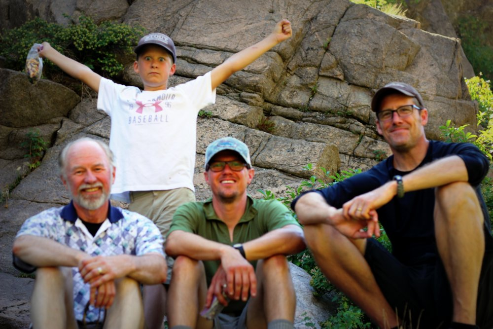 Wes, Heron, Tom, and Stephen on the East Rosebud Trail
