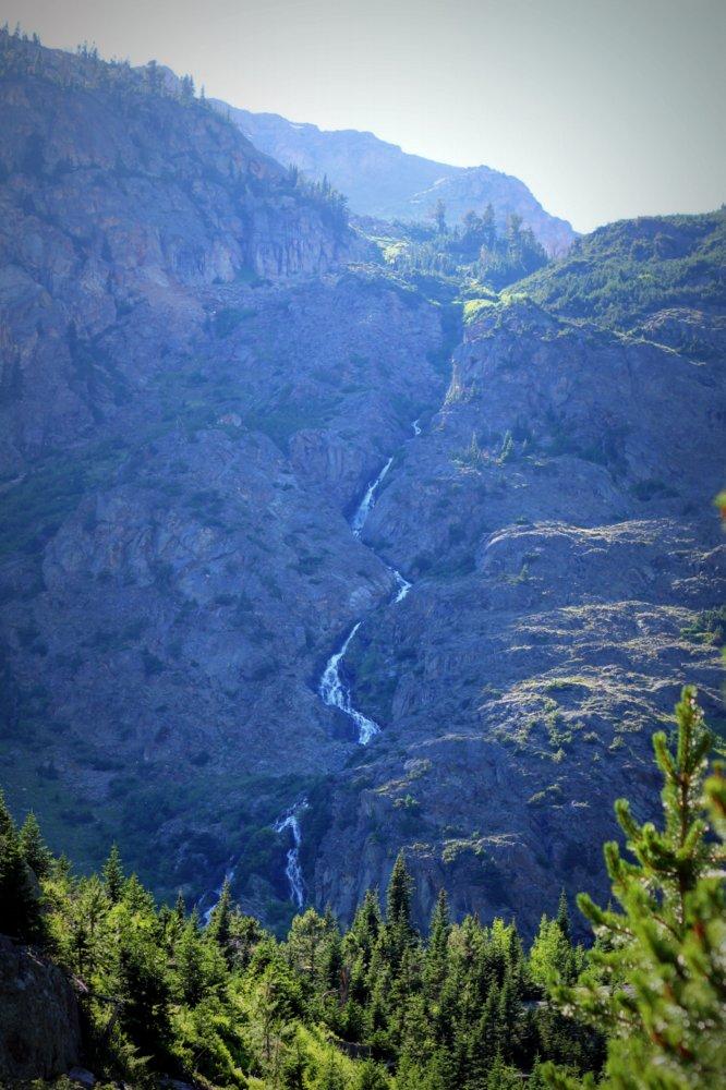 A high falls above Rainbow Lake, East Rosebud Trail