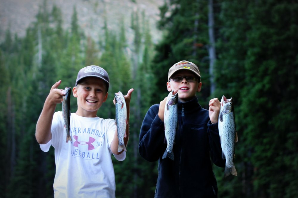 Heron and Bode with their Rainbow Trout from Rainbow Lake, East Rosebud Trail
