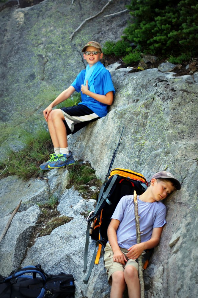 Bode and Heron resting on their way up to Dewey Lake