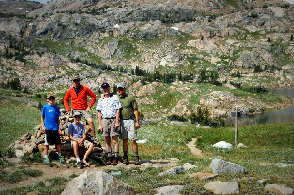 Bode, Stephen, Heron, Wes, and Tom at the Continental Divide, East Rosebud Trail