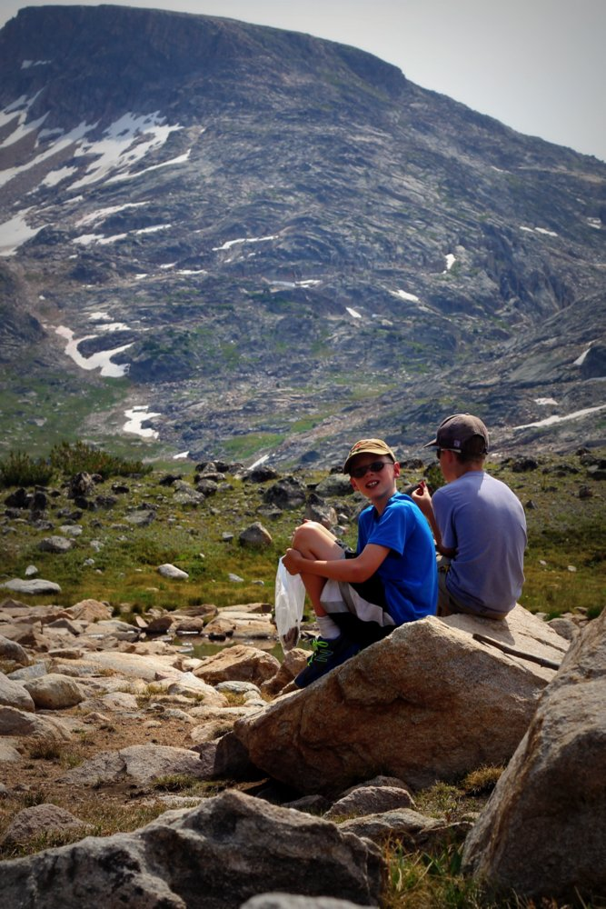Bode and Heron take in the view at the Continental Divide, East Rosebud Trail