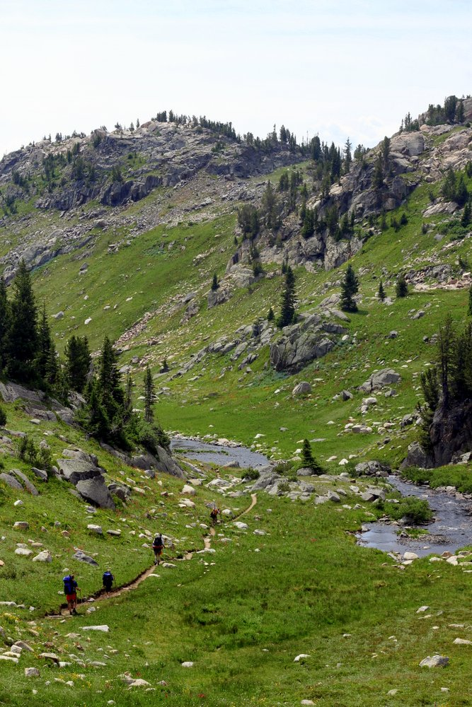 Our troupe descends toward Russel Creek, East Rosebud Trail