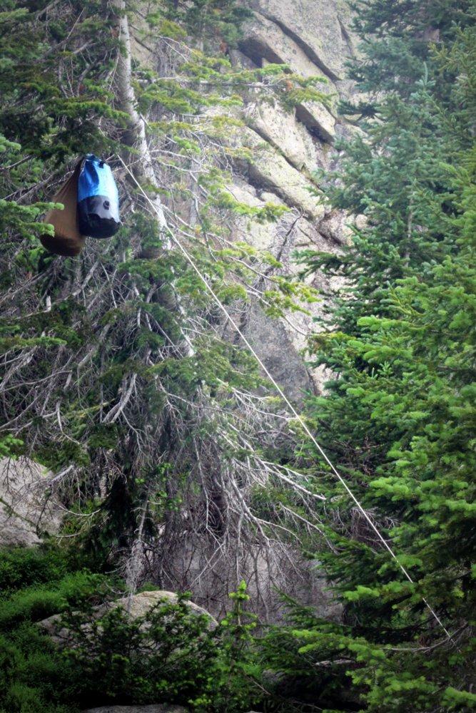 Our bear hang at Bald Knob Lake, East Rosebud Trail
