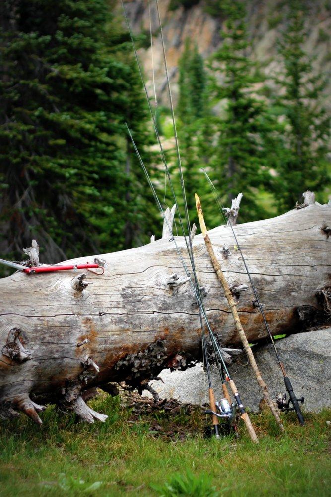 Fishing rods at rest at Bald Knob Lake, East Rosebud Trail