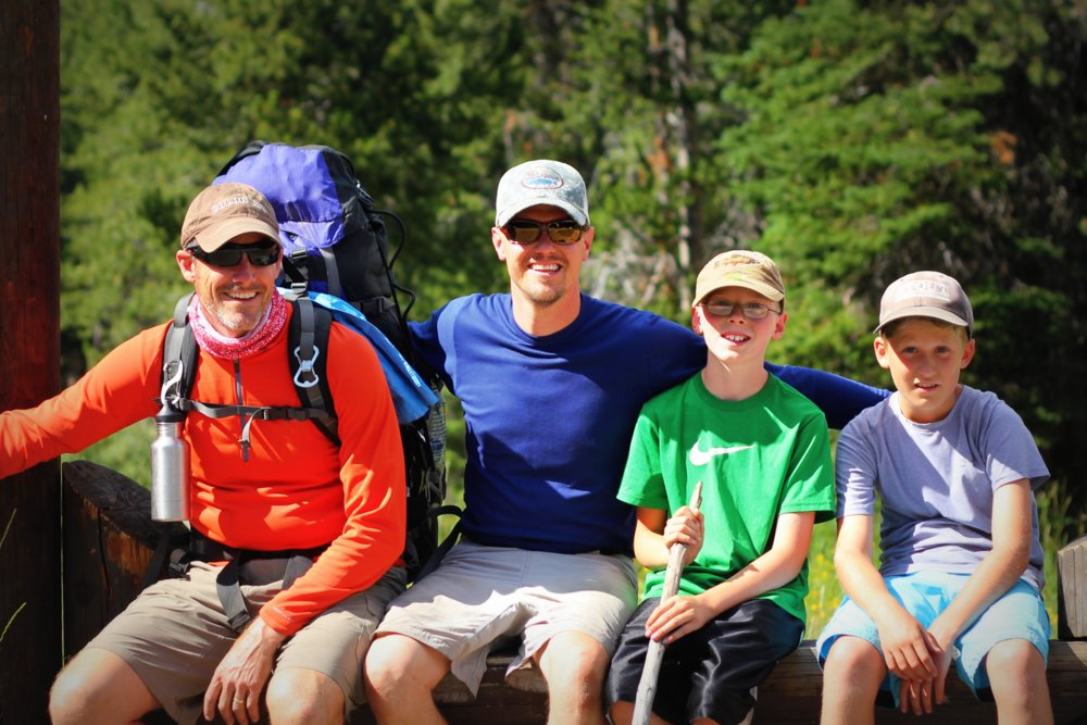 Stephen, Tom, Bode, and Heron at the west end of the East Rosebud Trail